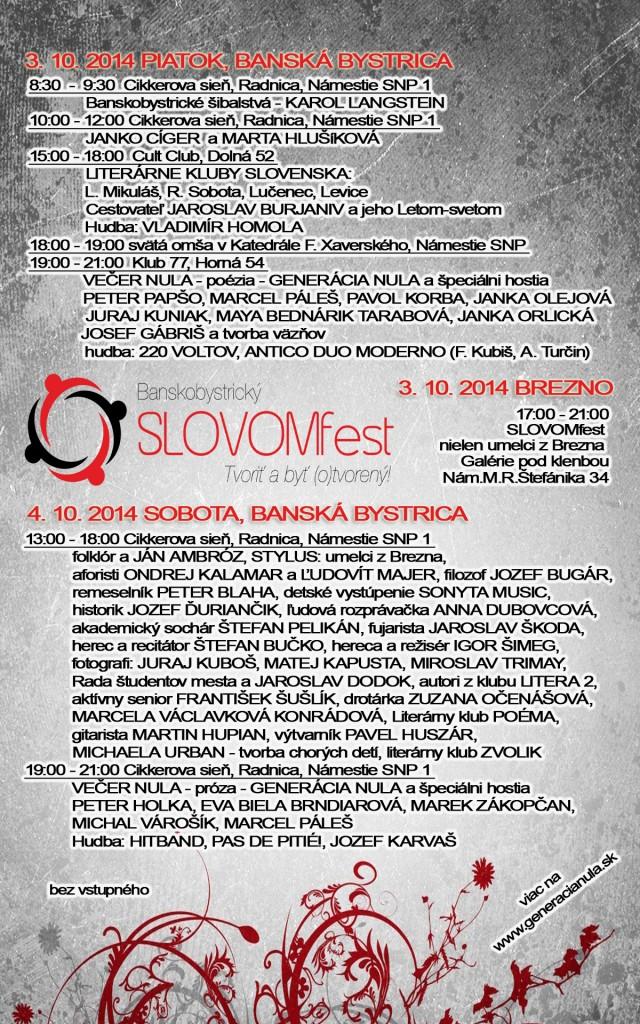 SLOVOMfest 2014 program